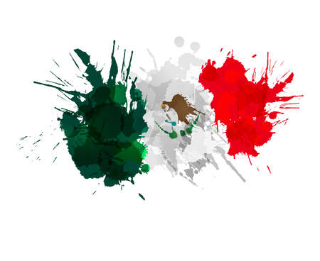 Illustration for Mexican flag made of colorful splashes - Royalty Free Image