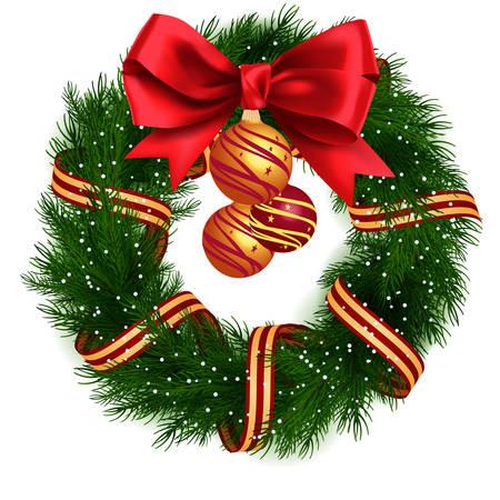 Illustration pour Christmas Wreath isolated - image libre de droit