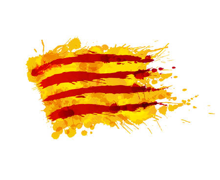 Illustration for Flag of  Catalonia made of colorful splashes - Royalty Free Image