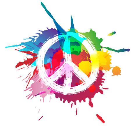 Ilustración de Peace sign in front of colorful splashes - Imagen libre de derechos