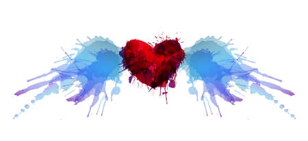 Illustration pour Heart with wings made of colorful grunge splashes - image libre de droit