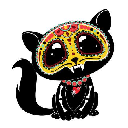Illustration pour Day of the Dead (Dia de los Muertos) style kitty - image libre de droit