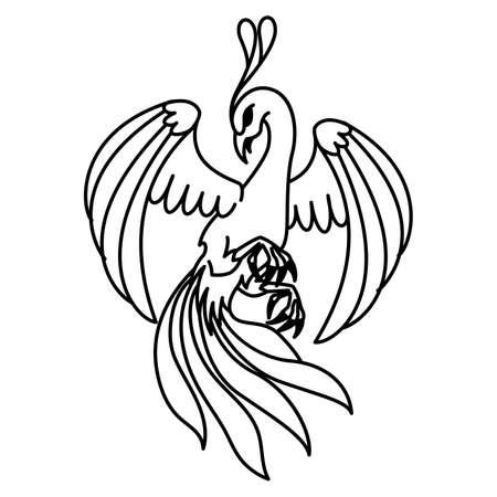 Flat linear phoenix illustration