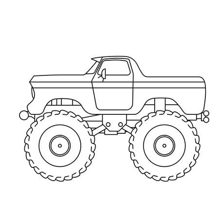 Ilustración de Flat style line art Monster Truck illustration - Imagen libre de derechos