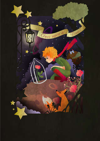 Illustration pour Little boy with rose an fox sitting in front of night sky - image libre de droit