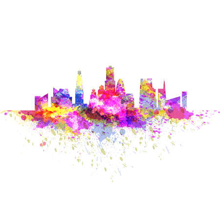 Illustration pour Cityscape skyline with scyscrapers made of colorful bright grunge splashes - image libre de droit