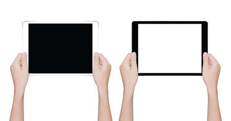 Photo pour closeup hand holding tablet isolated white clipping path inside - image libre de droit