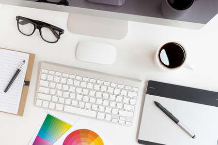 Photo pour designer workspace on top view - image libre de droit