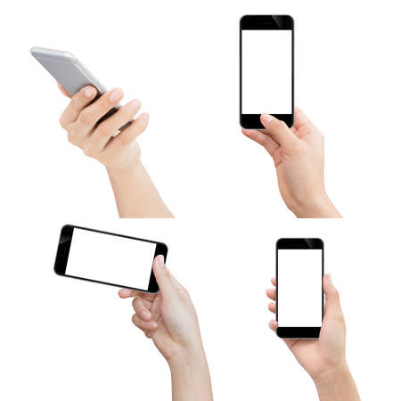 Photo pour hand holding phone isolated with clipping path on white background - image libre de droit