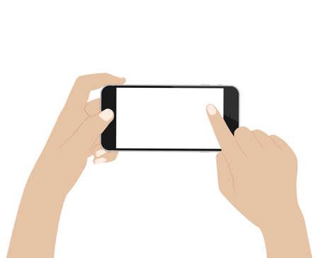 Illustration pour vector desgin hand using phone on white background - image libre de droit