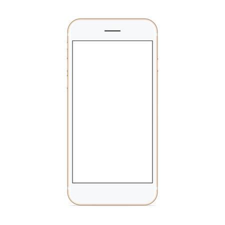 Illustration pour vector mockup phone front view on white background, new phone design gold color - image libre de droit