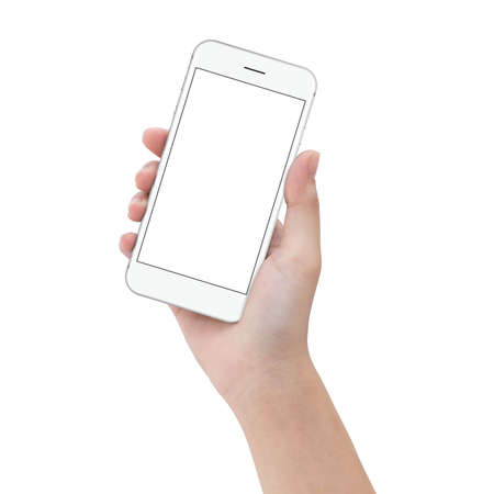 Foto de close-up hand hold phone isolated on white, mock up smartphone blank screen easy adjustment with clipping path - Imagen libre de derechos