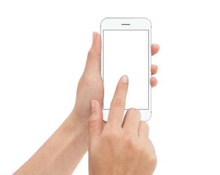 Photo for hand touch phone isolated with clipping path on white background, mock-up phone blank screen - Royalty Free Image