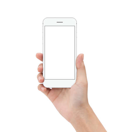 close up hand hold phone isolated on white, mock-ups phone white color blank screen