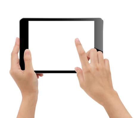 Foto de close-up hand holding tablet isolated white - Imagen libre de derechos