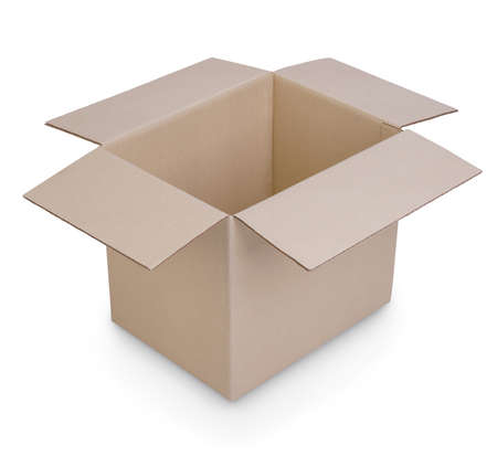 Photo for cardboard box isolated showing inside perspective view on white background - Royalty Free Image