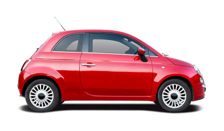 Photo pour Italian red small hatchback car side view isolated on white - image libre de droit