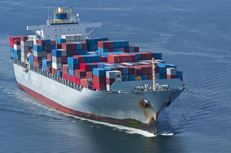 Photo for An aerial view of a container ship.  - Royalty Free Image