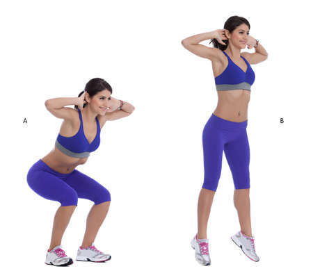 Step by step instructions: Stand with your feet shoulder, width apart and place your hands behind your head. (A) Squat until your thighs are parallel to the floor, then explode off upward, jumping as high as you can. (B)