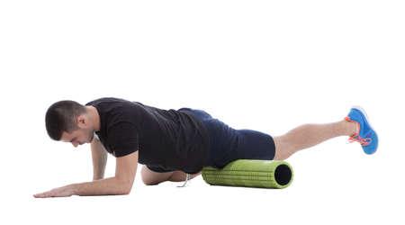 Photo pour Foam roller exercise explanation and execution with a trainer. - image libre de droit