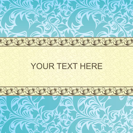 Vintage card with floral ornament background  Lines with floral texture  blue, brown, beige