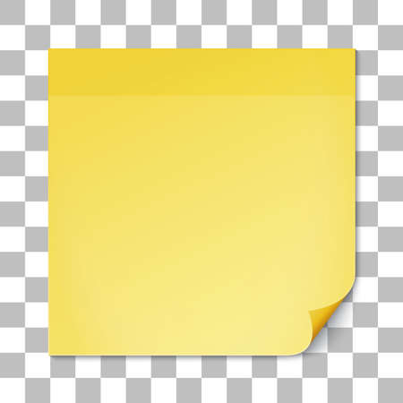 Yellow stick note on transparent texture background. Removable self-stick note. Vector illustration.