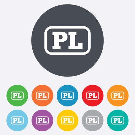 Polish language sign icon. PL translation symbol with frame. Round colorful 11 buttons.