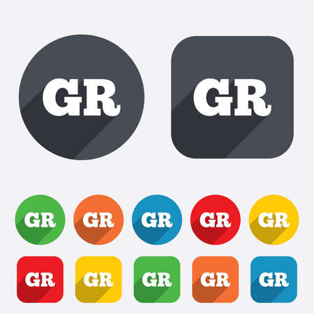 Greek language sign icon. GR Greece translation symbol. Circles and rounded squares 12 buttons. Vector