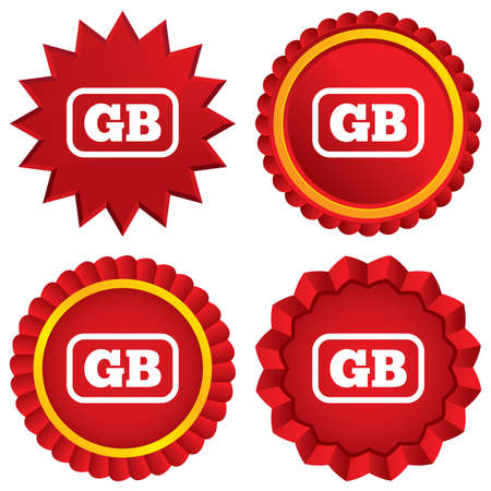 British language sign icon. GB Great Britain translation symbol with frame. Red stars stickers. Certificate emblem labels. Vector