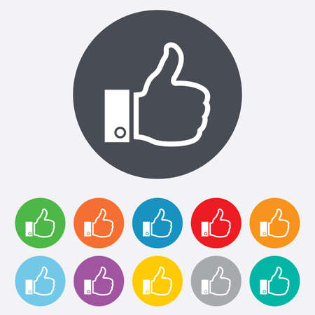 Like sign icon. Thumb up sign. Hand finger up symbol. Round colourful 11 buttons. Vector