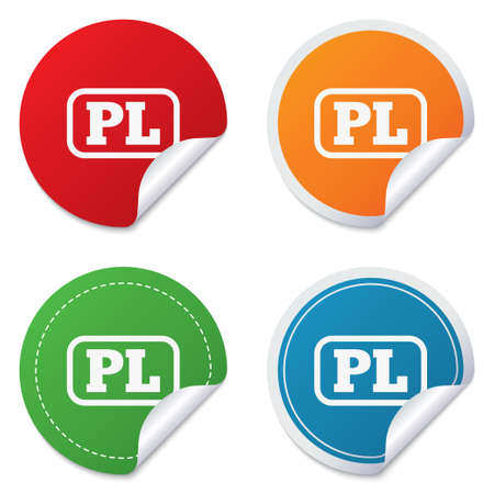 Polish language sign icon. PL translation symbol with frame. Round stickers. Circle labels with shadows. Curved corner. Vector