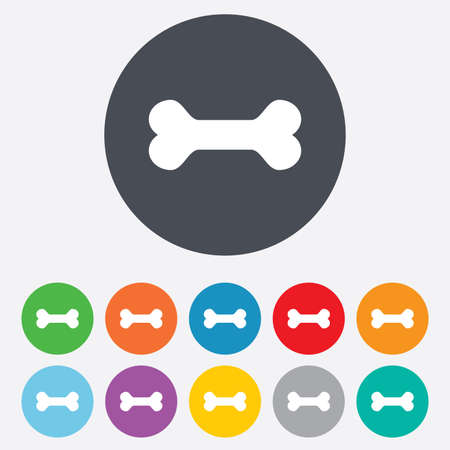 Dog bone sign icon. Pets food symbol. Round colourful 11 buttons. Vector