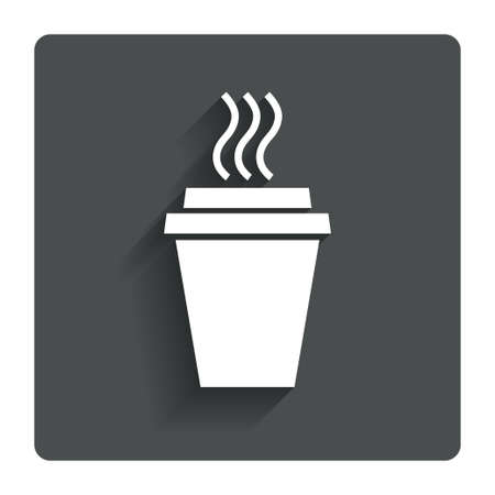 Illustration pour Take a Coffee sign icon. Hot Coffee cup. Gray flat button with shadow. Modern UI website navigation. Vector - image libre de droit