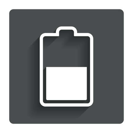 Battery half level sign icon.