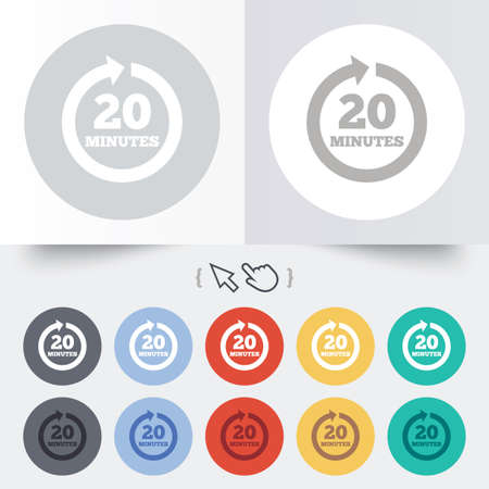 Every 20 minutes sign icon. Full rotation arrow symbol. Round 12 circle buttons. Shadow. Hand cursor pointer.