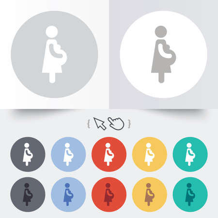 Pregnant sign icon. Women Pregnancy symbol. Round 12 circle buttons. Shadow. Hand cursor pointer.