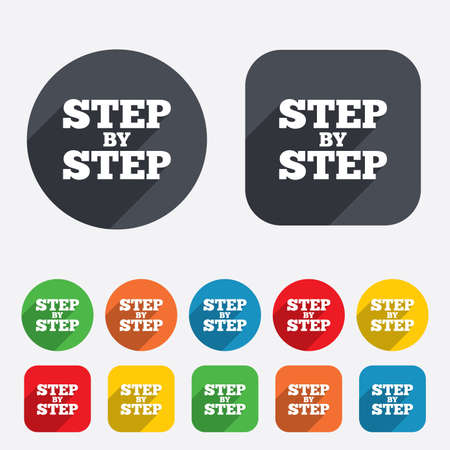 Step by step sign icon. Instructions symbol. Circles and rounded squares 12 buttons.