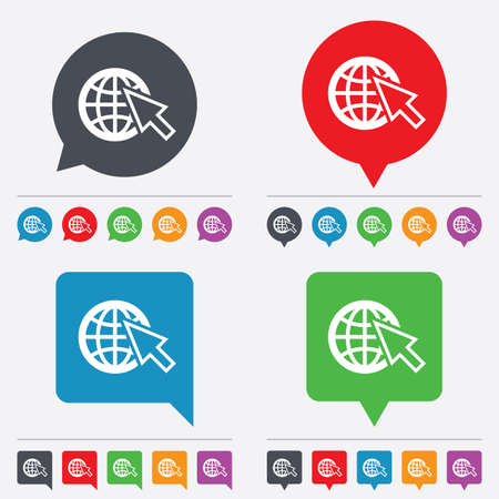 Internet sign icon. World wide web symbol. Cursor pointer. Speech bubbles information icons. 24 colored buttons. Vector