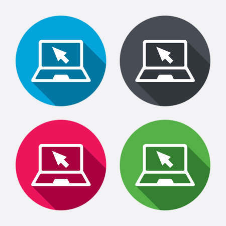 Illustration pour Laptop sign icon. Notebook pc with cursor pointer symbol. Circle buttons with long shadow. 4 icons set. Vector - image libre de droit