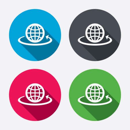 Globe sign icon. Round the world arrow symbol. Full rotation. Circle buttons with long shadow. 4 icons set. Vector