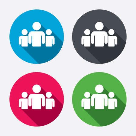 Ilustración de Group of people sign icon. Share symbol. Circle buttons with long shadow. 4 icons set. Vector - Imagen libre de derechos