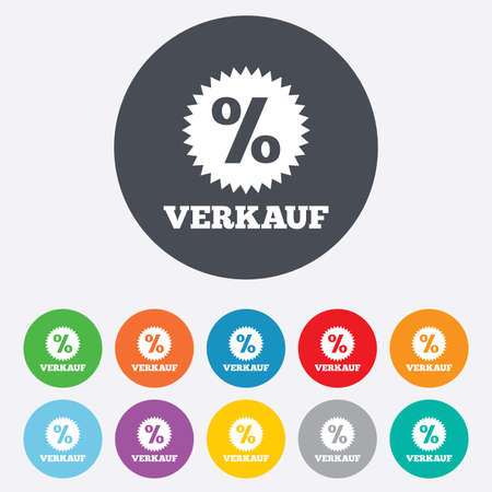 Verkauf - Sale in German sign icon. Star with percentage symbol. Round colourful 11 buttons. Vector