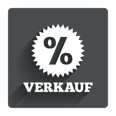 Verkauf - Sale in German sign icon. Star with percentage symbol. Gray flat square button with shadow. Modern UI website navigation. Vector