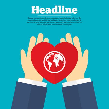 Helping hands with heart. Globe sign icon. World map geography symbol. Charity symbol with headline. Vector