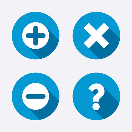 Plus and minus icons. Delete and question FAQ mark signs. Enlarge zoom symbol. Circle concept web buttons. Vector