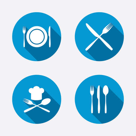 Plate dish with forks and knifes icons. Chief hat sign. Crosswise cutlery symbol. Dining etiquette. Circle concept web buttons. Vector