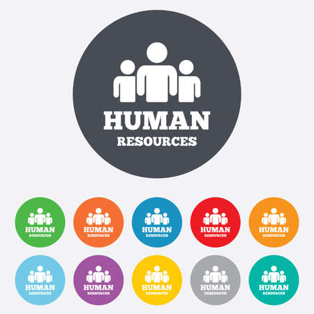 Illustration pour Human resources sign icon. HR symbol. Workforce of business organization. Group of people. Round colourful 11 buttons. Vector - image libre de droit