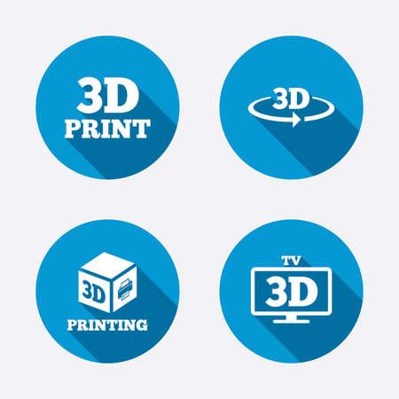 3d technology icons  Printer, rotation arrow sign symbols