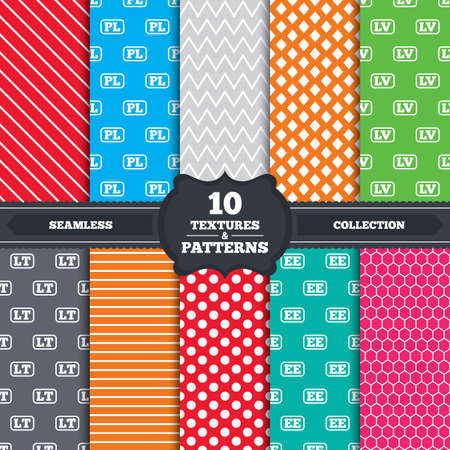 Seamless patterns and textures. Language icons. PL, LV, LT and EE translation symbols. Poland, Latvia, Lithuania and Estonia languages. Endless backgrounds with circles, lines and geometric elements. Vector