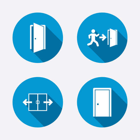 Automatic door icon. Emergency exit with human figure and arrow symbols. Fire exit signs. Circle concept web buttons. Vector